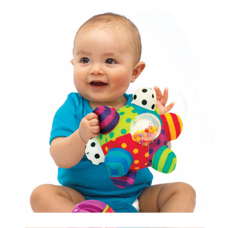 Baby Fun Ball Cute Plush Soft Cloth Hand Rattles Training Grasping Ability Toy For Baby  ...