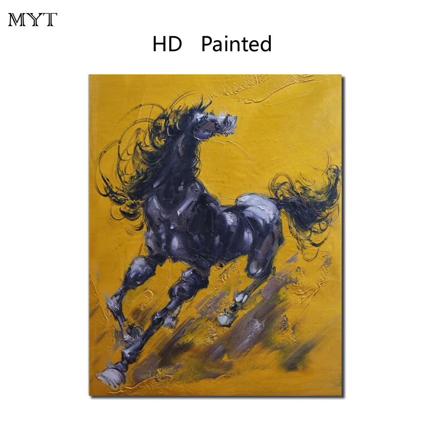 Fashion HD Printed Painting Home Decor Art Picture yellow base black horse for bed room living room No Framed or Diy Framed