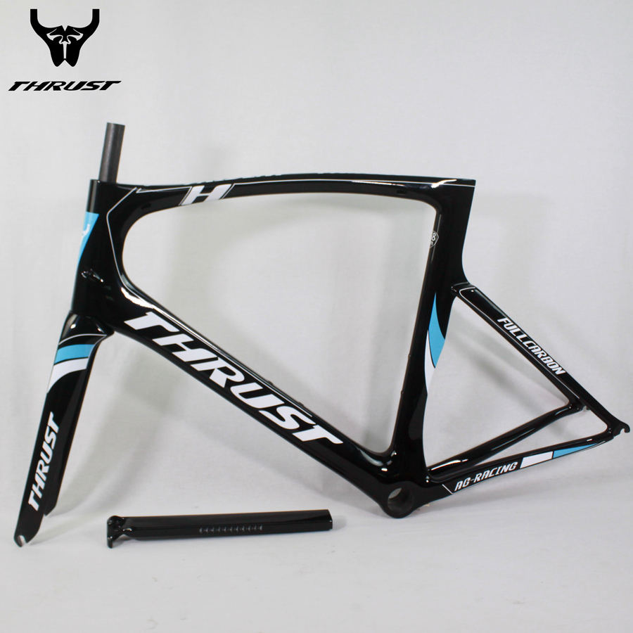 THRUST Carrbon Frame 49 52 54 56 58cm Road Bicycle Carbon Bike Frame Blub and Black T1000 with Fork Seatpost Clamp Headset процессор intel e5440 cpu 2 83g 775 3d l5420