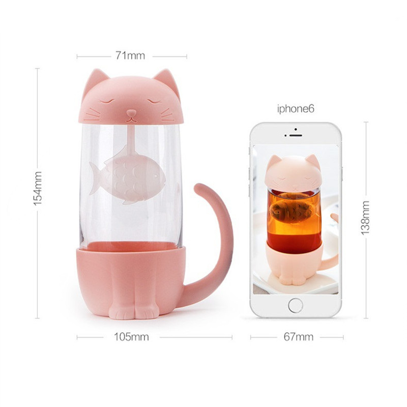 HTB185SHaovrK1RjSspcq6zzSXXap Cute Cat Glass Cup Tea Mug With Fish Infuser Strainer Filter Home Offices