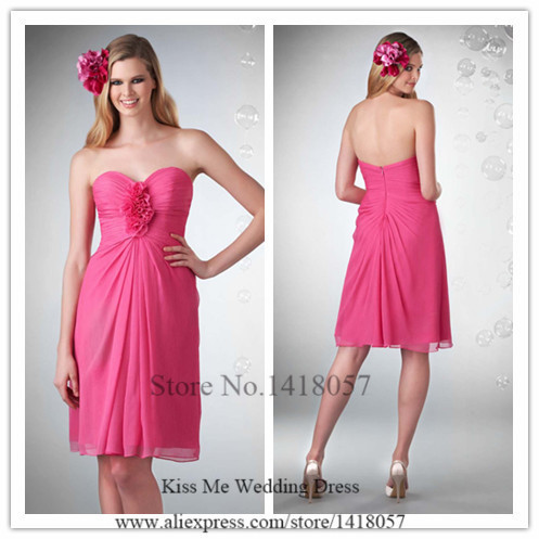 2015 Cheap Fuschia Bridesmaid Dress Short Chiffon Wedding Party ...