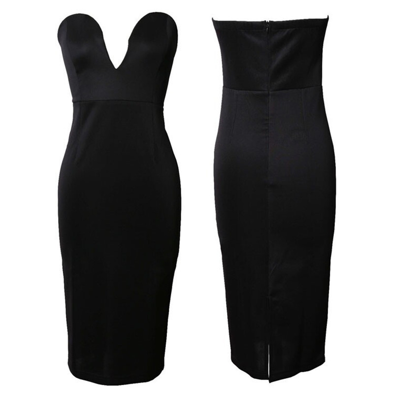 Popular Black Strapless Pencil Dress-Buy Cheap Black Strapless ...