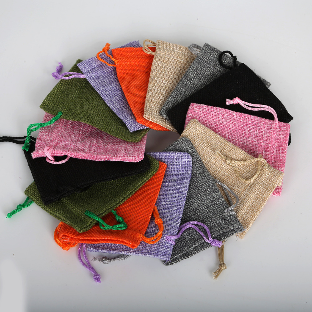 5pcs Cotton Linen Drawstring Pouch 4 Size Custom Logo Jute Pouch Burlap Party Candy Gift Round Bottom Jewelry Packaging Bag