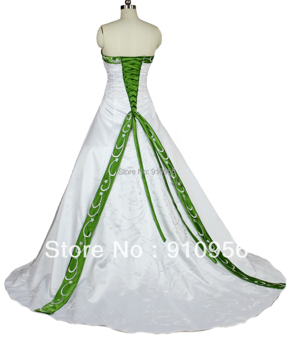 Faironly Cheap Elegant Strapless White And Green Embroidery Sequined ...