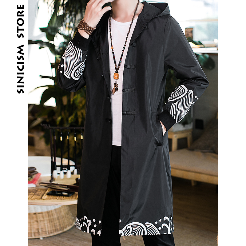 Sinicism Store Long Coat 2018 Men Sea Wave   Trench   Coat Men's Chinese Style Casual Black Jacket Hooded Autumn Winter Overcoat