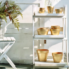 Modern simple style red pottery flower pot golden layer furniture office free of mail