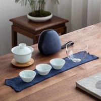 TANGPIN 3 copos cerâmica gaiwan um chá conjuntos de chá de viagem portátil definir drinkware Jogos de chá     -