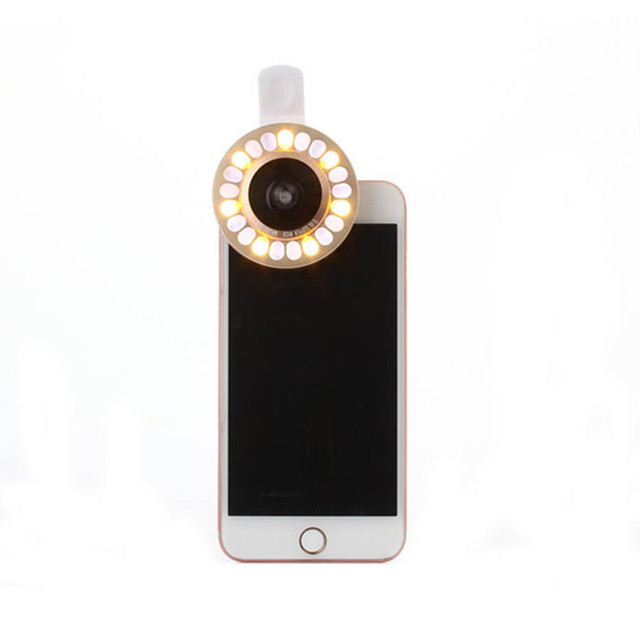 Selfie Fill Light Lens Fisheye Macro Wide-Angle Lens for Iphone samsung Clip on LED Flash Light Portable for LG HTC huaweixiaomi