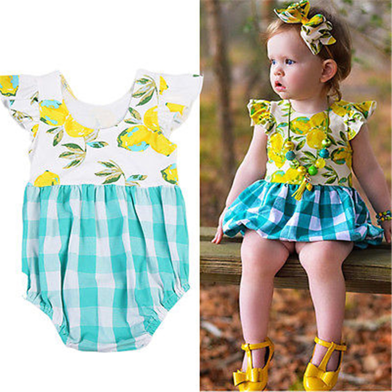 8bf426189cc Floral Infant Baby Kids Girls Puffy Plaid Lemon Print Romper Plaid Jumpsuit  Playsuit Clothes Baby Romper 0 4Y-in Rompers from Mother   Kids on ...