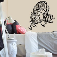 Wall Decal Vinyl Salon Girl Sticker Beautiful Girl with Sword Samurai Anime Housewares WalL Art Decor Mural Japan Style WW-321