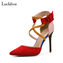 Luchfive women red rose orange gladiator sandals women high heels buckle strap patchwork color cross tied shoes women pumps