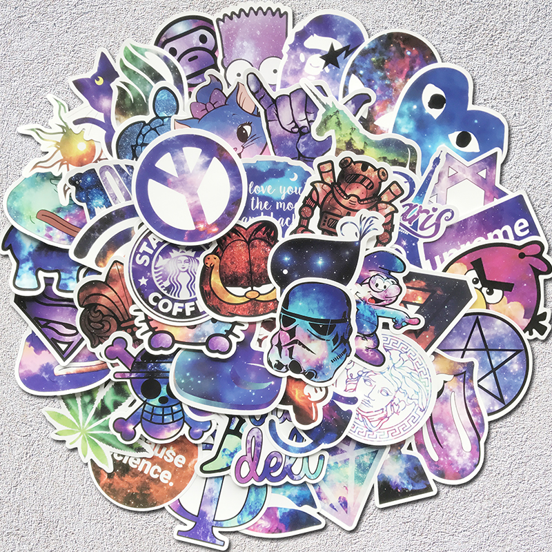 AQK 50pcs Pack Mixed Galaxy Stickers Graffiti Stars Dream Funny Sticker For Skateboard Suitcase Laptop Guitar Fridge Car Decals