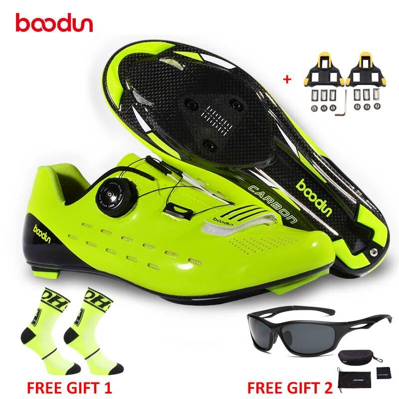 BOODUN Nouveau Style Chaussures de Vélo de Route Ultraléger En Fiber De Carbone vélo De Route Cyclisme Chaussures résistant à L'usure antidérapant Chaussures De Vélo zapatos