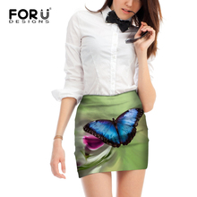 FORUDESIGNS Pencil Mini Skirt Women Sexy Skirts Straight Floral Butterfly Printed Harajuku Style Femme Vogue Size M L