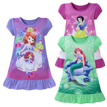 2017 Cotton Straight Mini Cute Kids Clothing Summer Party Girl Dress 3-10Y Cartoon Baby Girls Dresses Cartoon Movie Mermaid