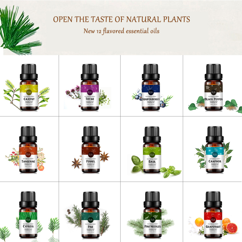 Plant Massage Oils Pine Needles Black Pepper Essential Oil for Aromatherapy Diffusers Basil Perfume Oils 12 Flavors Optional