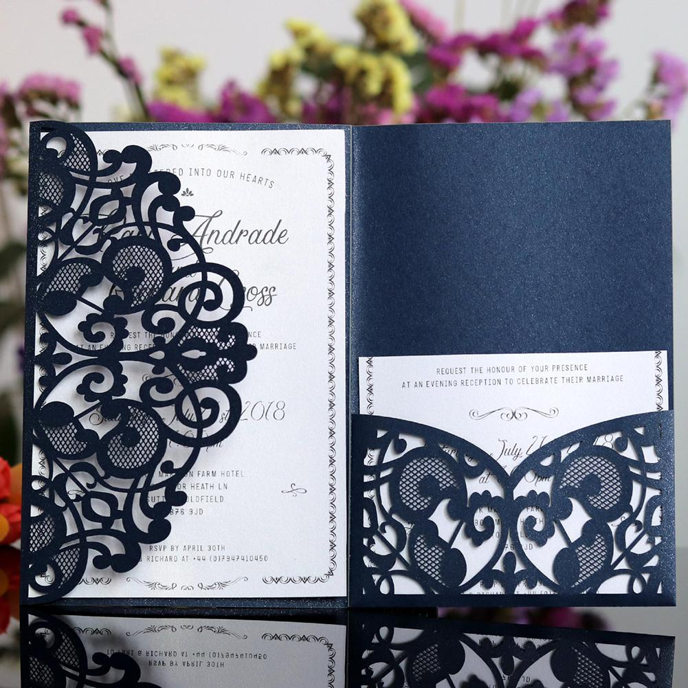 10/50 BLACK Tri fold Hollow Laser Cut Pocket Wedding Invite Invitation Card  SET