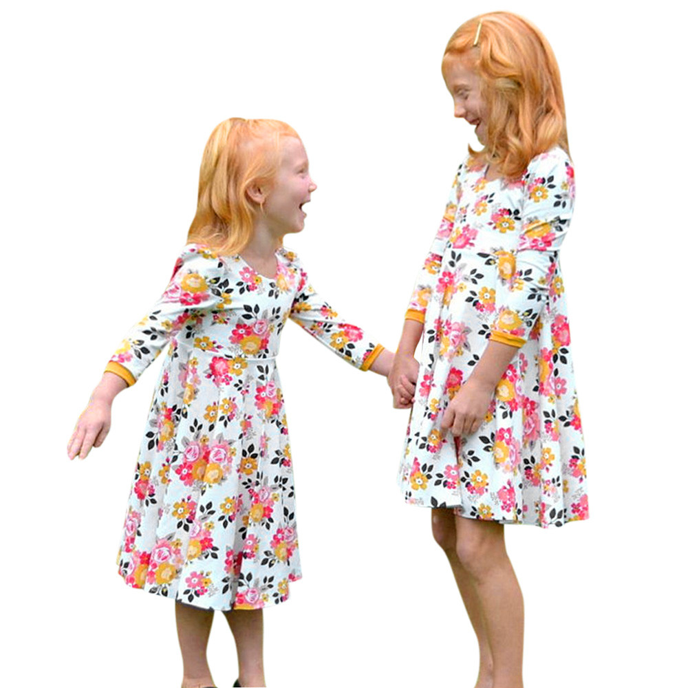 costume for kids Infant Baby Girls Dress Floral Print Sun Dresses Clothes Jumpsuit Rompe Outfits girl party dresses