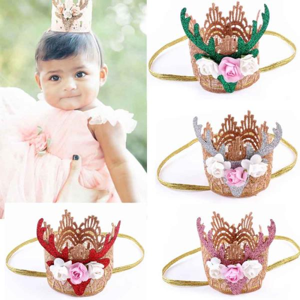 2017 gift Baby Headband Scrunchies Christmas Gifts For Gril Elk Head Accessories Hairband Baby Elastic Flower Crown ov9