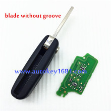 2pcs  2button  car key for  peugeot 307remote control 433mhz with ID46 chip 0536model  (blade without groove)