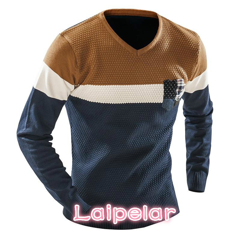 Laipelar Male 2018 MenS Fashion Mixed Colors Sweater Men Leisure Slim Pull Homme V-Neck Long-Sleeved Sweater Solid XXL