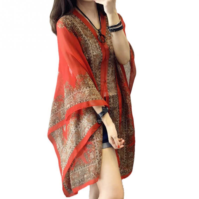 Women Scarf Shawl Poncho Printed Sunscreen Sun Protection Beach Bikini Cover Soft Comfortable Hot Sale #919