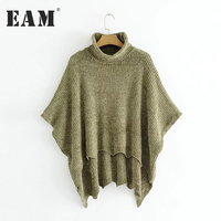 EAM 2017 Autumn Winter Fashion Solid Color High Neck Cloak Type Irregular Hem Sweater Knitting
