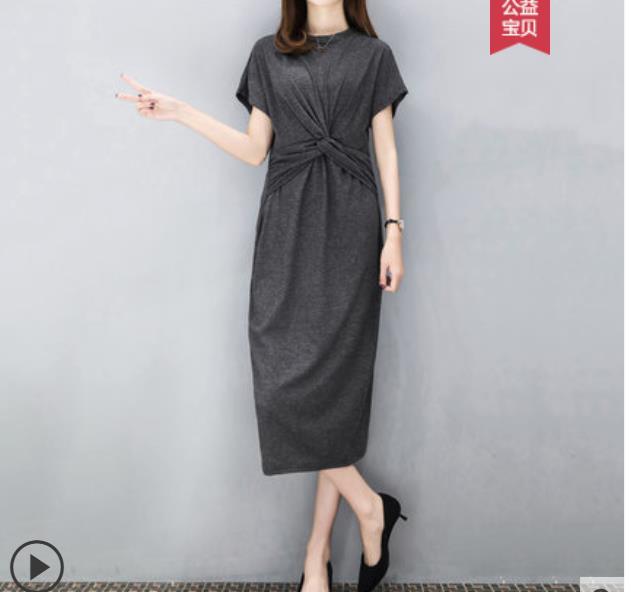 Summer dress 2019 new waist show thin cool French girls retro minimalist large size modal dress