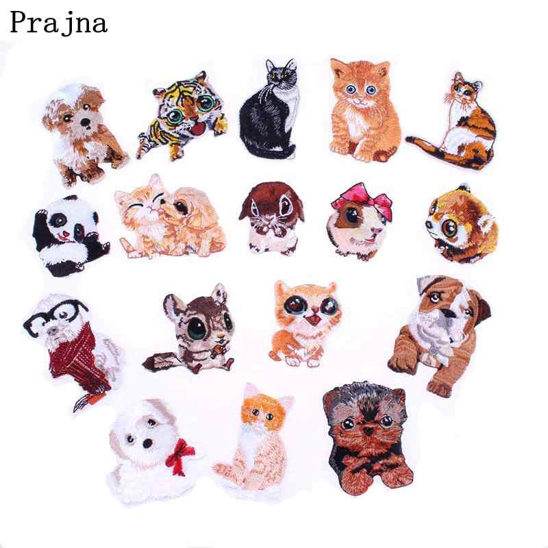 Prajna Cute Panda Dog Tiger Cat Patch Badge Cheap Embroidered Iron On Cartoon Patches For Clothes Stickers Fabric DIY Applique