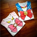 Free Shipping  Sailor Moon Anime Chibimoon Harajuku  Girl's Fake Print Cosplay T Shirt Woman