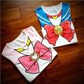 Free Shipping  Sailor Moon Anime Chibimoon Harajuku  Girl's Fake Print Cosplay T Shirt Woman