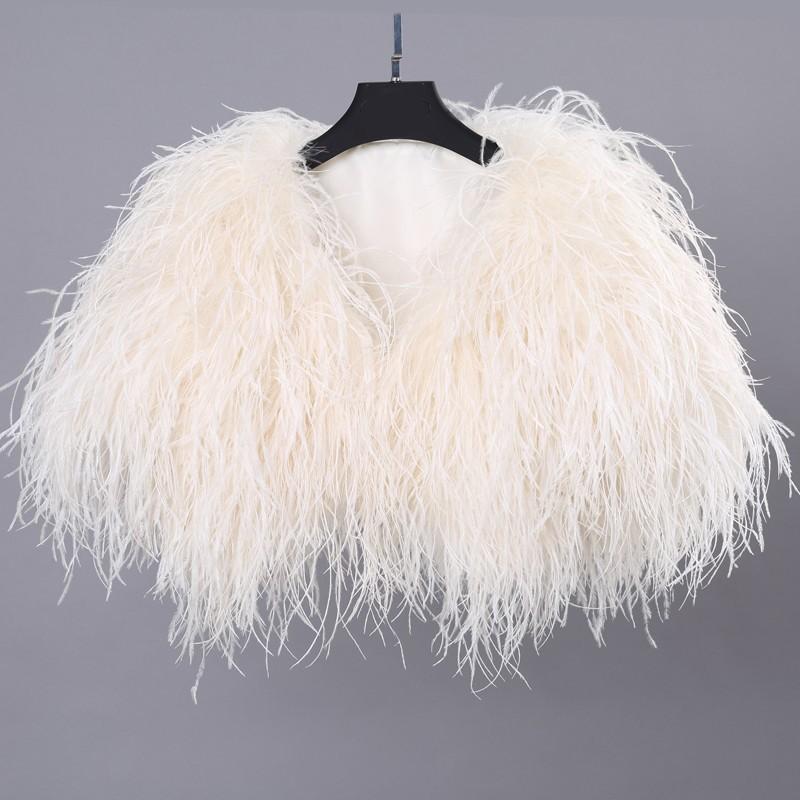 High Quality Luxury Ivory Ostrich Feather Wedding Fur Boleros 2016 Bridal Jackets for evening dresses Wedding Accessories (3)