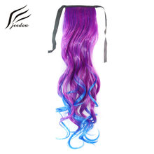 jeedou Wavy 50cm 95g Cosplay Ponytail Peuple Pink Red Ombre Color Ribbon Drawstring Ponytail Synthetic Hair Vitality Masquerade(China)