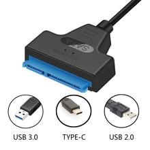 Conector de Cable USB 3,0 2,0 tipo C SATA 3 adaptador Sata a USB 6 Gbps externo SSD de 2,5 pulgadas unidad de disco duro HDD Sata III Cable