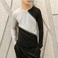 Otoño del resorte nuevos hombres Camiseta de la marca de moda Del O-cuello slim fit largo manga corta Camiseta del hombre de la cremallera de empalme de color casual punk Tee Shirts
