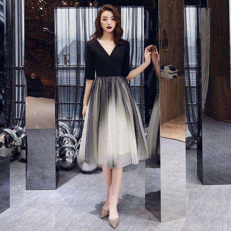 Formal Evening Dresses Black Deep V-neck Half Sleeves Woman 2020 Elegant Evening Dresses Gowns LF412