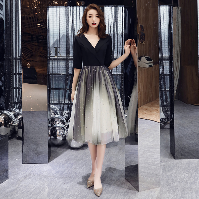Formal   Evening     Dresses   Black Deep V-neck Half Sleeves Woman 2019 Elegant   Evening     Dresses   Gowns LF412