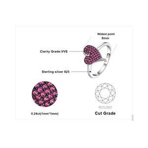Image 5 - Bijoux palace coeur 0.3ct créé rubis pavé bague 925 en argent Sterling coeur amour bague de fiançailles nouveauté spécial pour les femmes