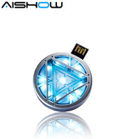 Free Shipping Avengers Retail Marvel Iron Man Arc Reactor 3 LED Flash Usb Flash Drive 4GB