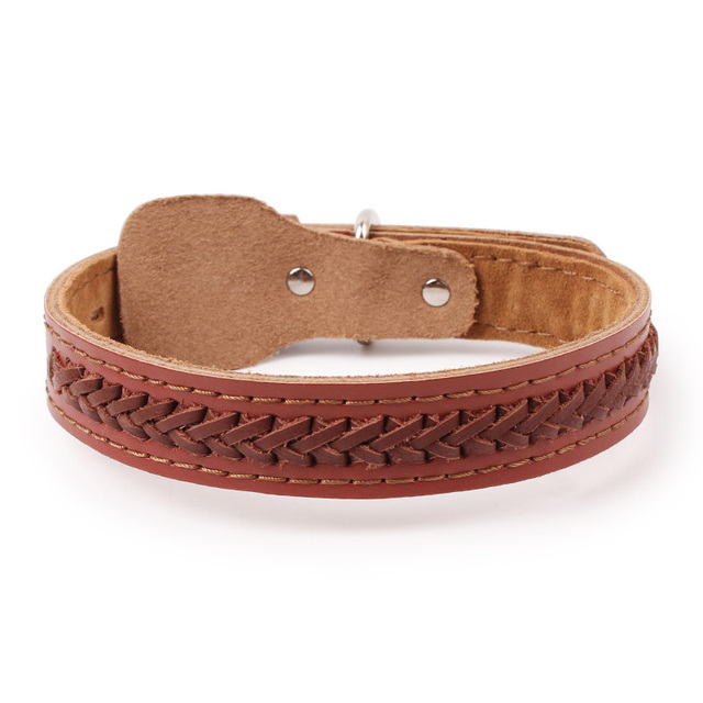 2.5/3.0cm Width Large Dog Collar Neck Strap Handmade Strong Cow Leather Dog Collars