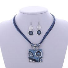 Trendy Geometric Enamel Jewelry Sets Women Circle Crystal Pendant Necklace Drop Earrings Set Layers Wax Rope Chain Jewelry Sets