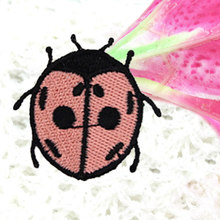 The Kids Girl Beautiful Ladybug Patches Iron On Embroidered Patch For Clothing Stick On Badge Paste For Clothes Sew On Bag Pants(China)
