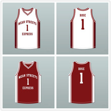 77fdc8766f1 Mean Streets Express #1 Derrick Rose White Red Black Retro Basketball  Jersey Mens Stitched Custom