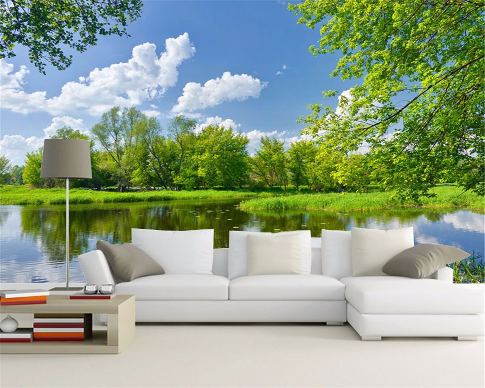 3 D Green Natural Landscape Pictures On The Wall Mural Wallpaper Sofa Decorate A Room TV Background Wall Paper Beibehang