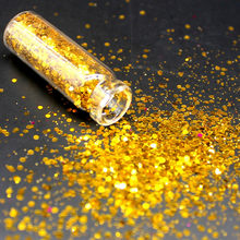 1 Bottle Yellow Holographic Sequin Glitter Cosmetics Eyes Lip Face Makeup Glitter Shimmer Powder Monochrome Eyes Baby Bride Pear(China)