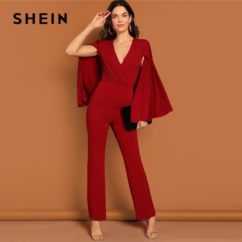 Jumpsuits 2019 Latest Design Shein Red Backless Open Shoulder Solid Cape Jumpsuit Elegant Cloak Sleeve Stretchy Jumpsuits Women Autumn Highstreet Jumpsuit