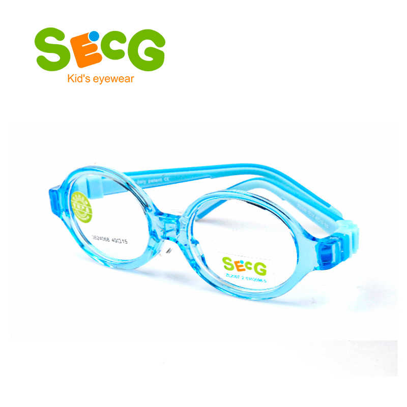SECG פעוט תינוק עגול חמוד גמיש ילדים מסגרת רך Ultralight ילדי הסרה מסגרת סיליקון האף רפידות Diopter משקפיים