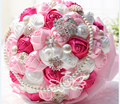 2017 New Cheap Wedding/Bridesmaid Bouquet Pink&White&Fuchsia Bridal Handmade Artificial Rose Bouquet de mariage ramo de la boda