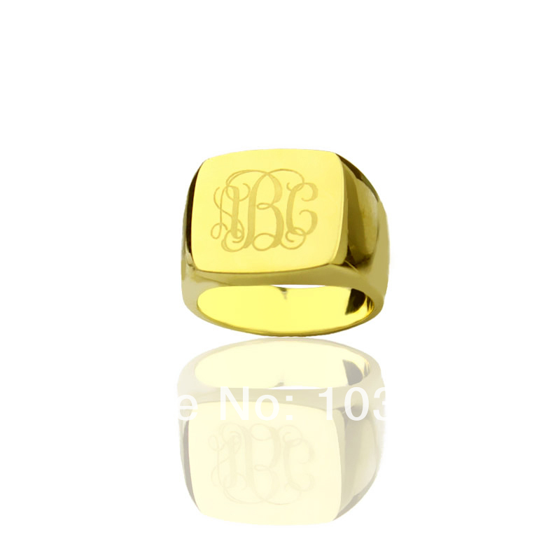 где купить AILIN Personalized Engraved Monogram Ring Customized Cut 3 Monogrammed Initials In Square Gold Color Name Rings дешево