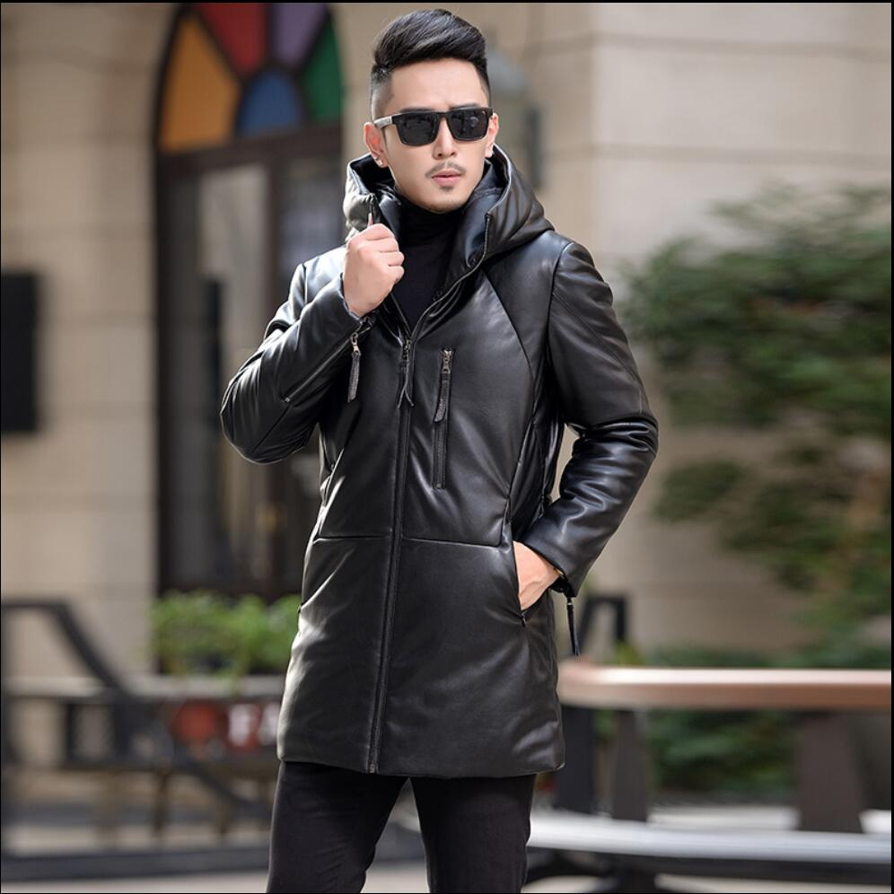 M-5XL Winter new Haining leather jacket down jacket mens long paragraph hooded fur coat casual jacket warm plus size clothing